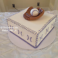 Baseball themed with fondant glove and ball topper._1