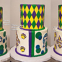 Mardi Gras themed top tier bottom tier lsu and Tulane _1